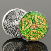 (32mm) Round Triple Heart Leaf Green/Purple Iridescent with Gold Wash
