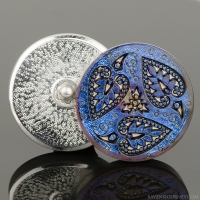 (32mm) Round Triple Heart Leaf Montana Blue/Purple Iridescent with Antique Finish
