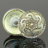 (27mm) Round Spiral Golden White Iridescent with Antiqued Finish and Gold Paint