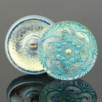 (27mm) Round Spiral Golden White Iridescent with Turquoise Wash and Gold Paint