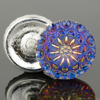 (27mm) Round Lacy Flower Blue and Purple Iridescent with Gold Paint