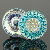 (27mm) Round Lacy Flower Gold White Iridescent with Turquoise Wash and Gold Paint
