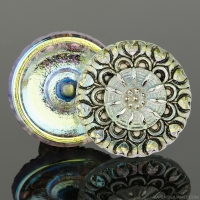 (27mm) Round Lacy Flower Golden White Iridescent with Antiqued Finish and Platinum Paint