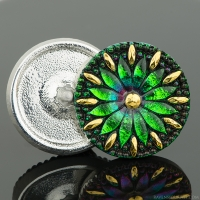 (32mm) Round Daisy Green and Purple Iridescent with Black Wash and Gold Paint