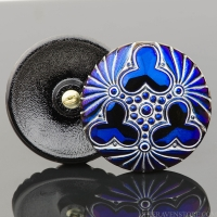(36mm) Round Triple Clover Blue Luster with Silver Wash