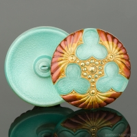 (36mm) Round Triple Clover Mint Green with Red and Gold Painted Edges and Gold Paint