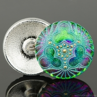 (36mm) Round Triple Clover Green and Purple Iridescent with Turquoise Wash and Gold Paint