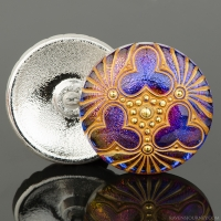 (36mm) Round Triple Clover Purple and Blue Iridescent with Gold Wash and Gold Paint