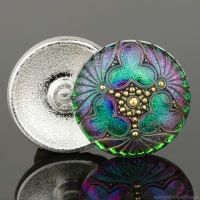 (36mm) Round Triple Clover Green and Purple Iridescent with Antiqued Finish and Gold Paint