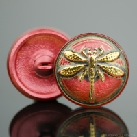 (18mm) Round Dragonfly Salmon Pink Antiqued with Gold Paint
