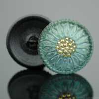 (18mm) Round Sunflower Green Tourmaline with Gold Paint