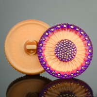 (32mm) Round Sunflower Gold, Red, and Purple with Gold Paint