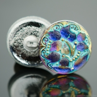 (18mm) Round Lacy 3 Flower Design Purple Blue Iridescent with Turquoise Wash and Gold Paint