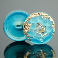 (18mm) Round Lacy 3 Flower Design Aqua Blue with Gold Paint