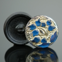 (18mm) Round Lacy 3 Flower Design Indigo Blue Antiqued with Platinum Paint