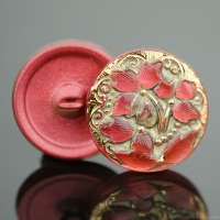 (18mm) Round Lacy 3 Flower Design Salmon Pink Antiqued with Gold Paint