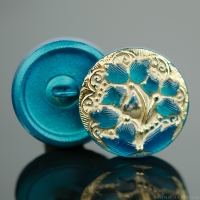 (18mm) Round Lacy 3 Flower Design Teal Turquoise Antiqued with Gold Paint