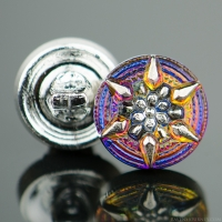 (13mm) Round Star Blue Purple Iridescent with Platinum Paint