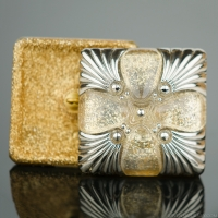 (34mm) Square Champagne Glitter with Platinum Paint
