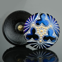 (36mm) Round Triple Clover Blue Luster with Silver and Gold Matte Paint