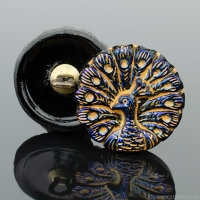 (18mm Round Peacock Blue Luster with Gold Wash