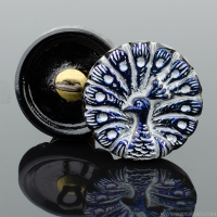 (18mm) Round Peacock Blue Luster with Silver Wash