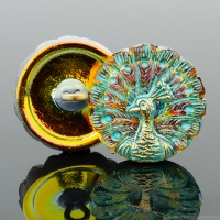 (18mm) Round Peacock Gold and Orange Iridescent with Turquoise Wash and Gold Paint
