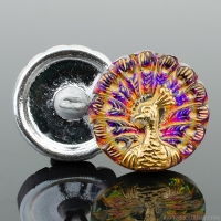(18mm) Round Peacock Purple and Pink and Orange Iridescent with Gold Wash and Gold Paint