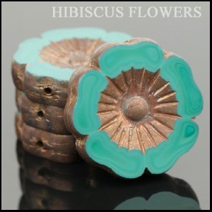 Czech Glass Hibiscus Flower Beads