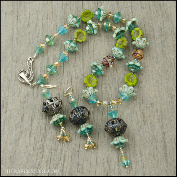 Czech Glass Necklace and Earrings