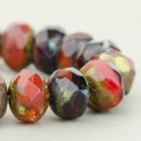 Rondelle (9x6mm) Red and Brown Mix Opaque and Transparent with Picasso