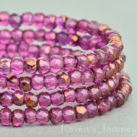 Rondelle (3x2mm) Fuchsia Transparent with Bronze Finish