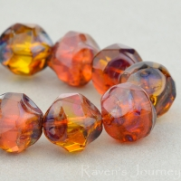 Central Cut (9mm) Pink Opaline and Amber Transparent Mix with Picasso Finish