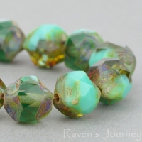 Central Cut (9mm) Turquoise Opaque and Green Transparent Mix with Picasso Finish