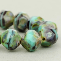 Central Cut (9mm) Turquoise Opaque and Purple Transparent Mix with Picasso Finish