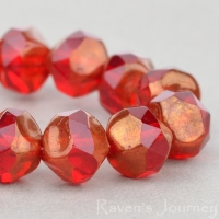 Central Cut (9mm) Red Transparent with Bronze Finish