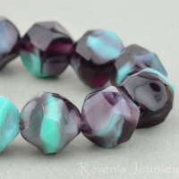 Central Cut (9mm) Turquoise Opaque and Purple Transparent Mix