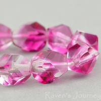 Nugget Cut (8mm) Fuchsia Transparent and Crystal Transparent Mix