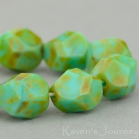 Nugget Cut (8mm) Turquoise Opaque with Picasso Finish