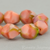 Nugget Cut (10mm) Pink Silk and Olivine Transparent Mix