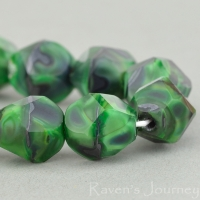 Nugget Cut (10mm) Green Silk and Jet Opaque Mix