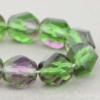 Spiral Faceted Round (8mm) Tourmaline Green Purple Mix Transparent