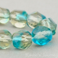 Spiral Faceted Round (8mm) Aqua Smokey Grey Mix Transparent