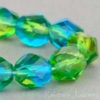 Spiral Faceted Round (8mm) Olivine Aqua Blue Mix Transparent
