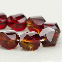 Spiral Faceted Round (10mm) Garnet Red and Topaz Mix Transparent