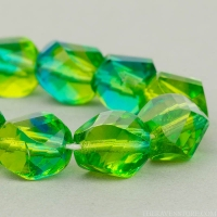 Spiral Faceted Round (10mm) Olivine and Aqua Blue Mix Transparent