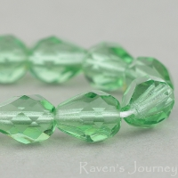 Faceted Drop (9x7mm) Tourmaline Green Transparent