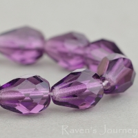 Faceted Drop (9x7mm) Amethyst Purple Transparent