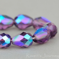 Faceted Drop (9x7mm) Amethyst Purple Transparent with AB