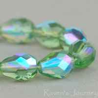 Faceted Drop (9x7mm) Tourmaline Green Transparent with AB
